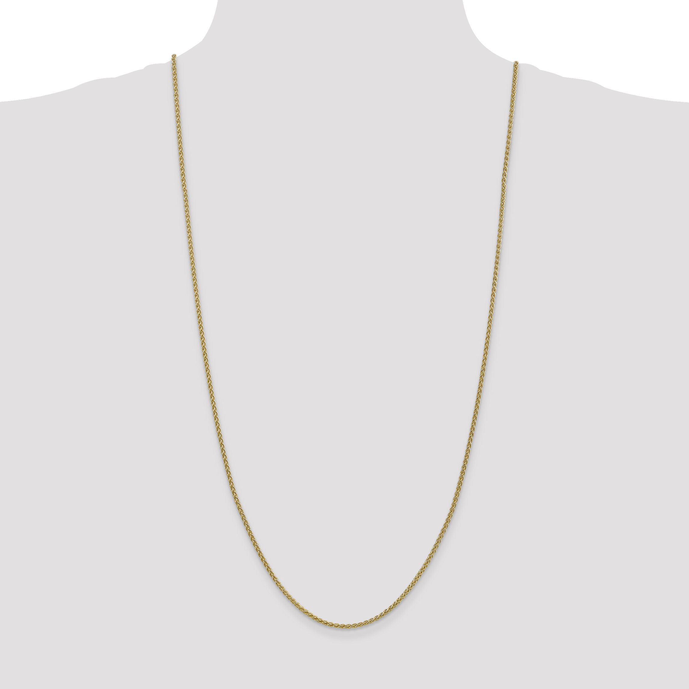 14k Yellow Gold 2mm Spiga Chain Necklace 30 Inch Pendant Charm Wheat Fine Jewelry Gifts For Women For Her - image 2 of 5