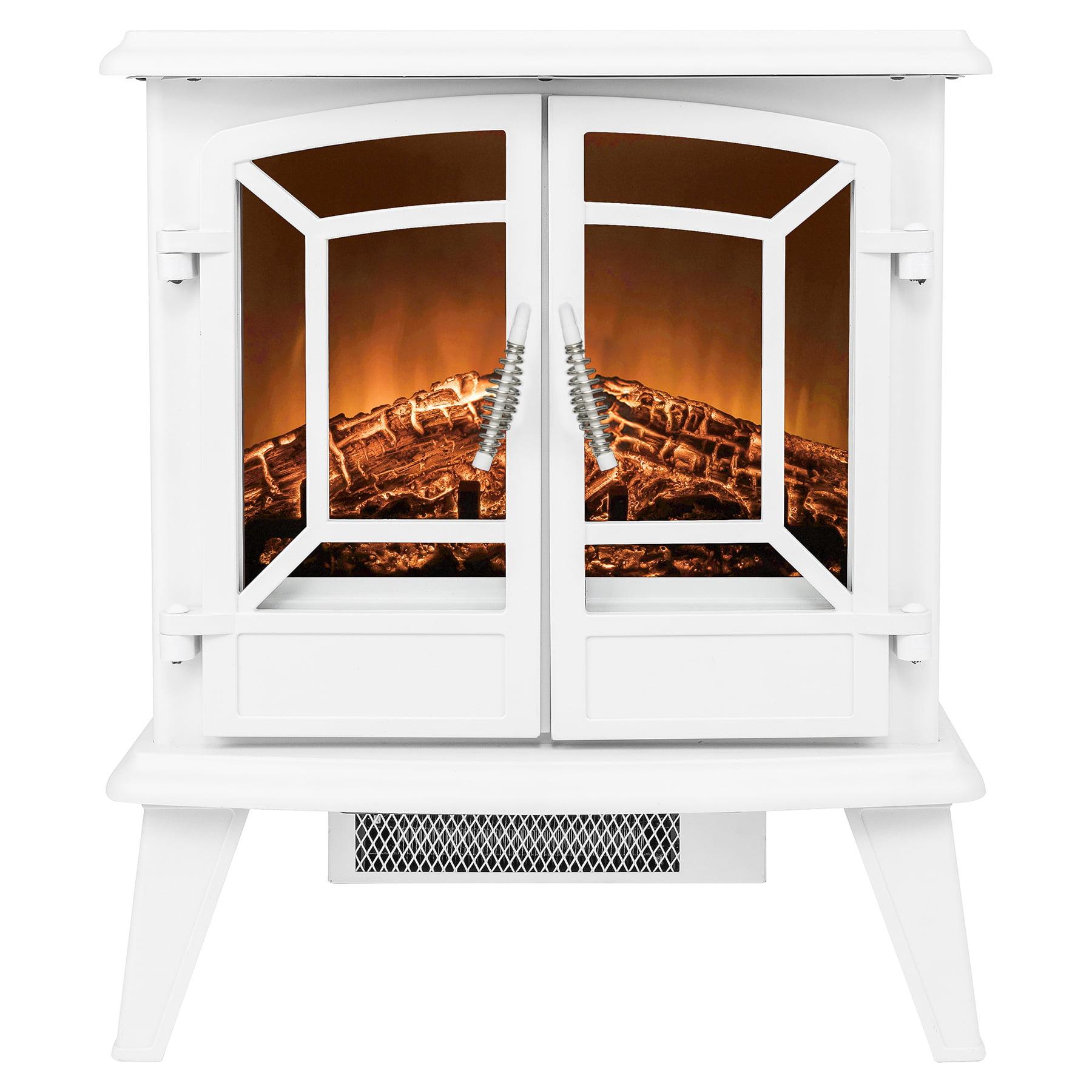 "AKDY FP0076 20"" Freestanding Portable White Electric Fireplace 3D Flames Firebox Heater w/"
