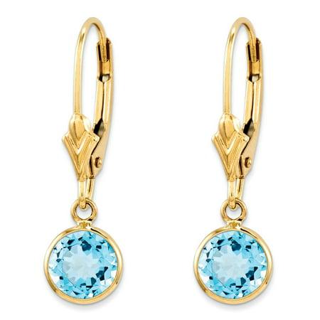 Roy Rose Jewelry 14K Yellow Gold Blue Topaz Leverback Earrings