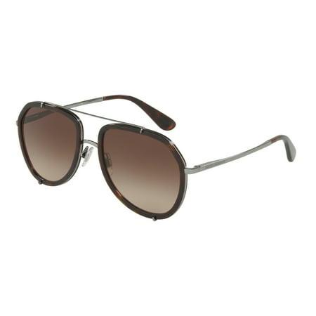 Dolce & Gabbana 0DG2161 Pilot Womens Sunglasses - Size 55 (Brown Gradient)