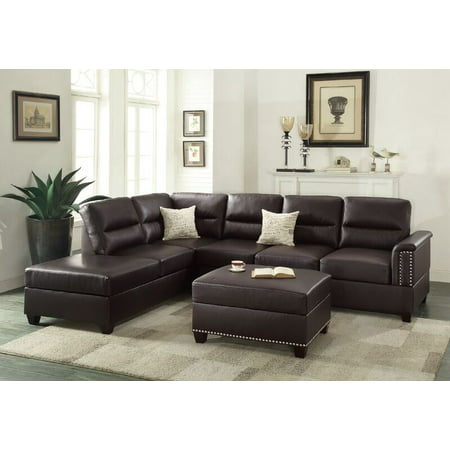 Poundex F7609 Bobkona Toffy Bonded Leather Left or Right Hand Chaise Sectional with Ottoman Set,