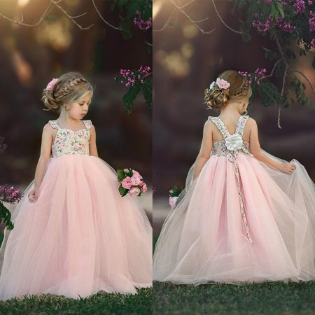 Flower Firl (Lace Flower Girl Dress Princess Party Prom Bridesmaid Gown Formal Long)