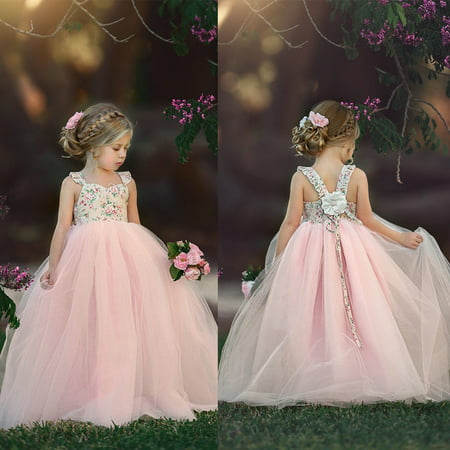Lace Flower Girl Dress Princess Party Prom Bridesmaid Gown Formal Long - Country Girl Dress