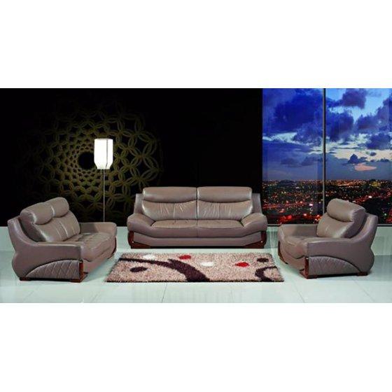 Maxwest P525 Modern Mocha Genuine Leather Sofa Loveseat And Chair Set 3 Pcs