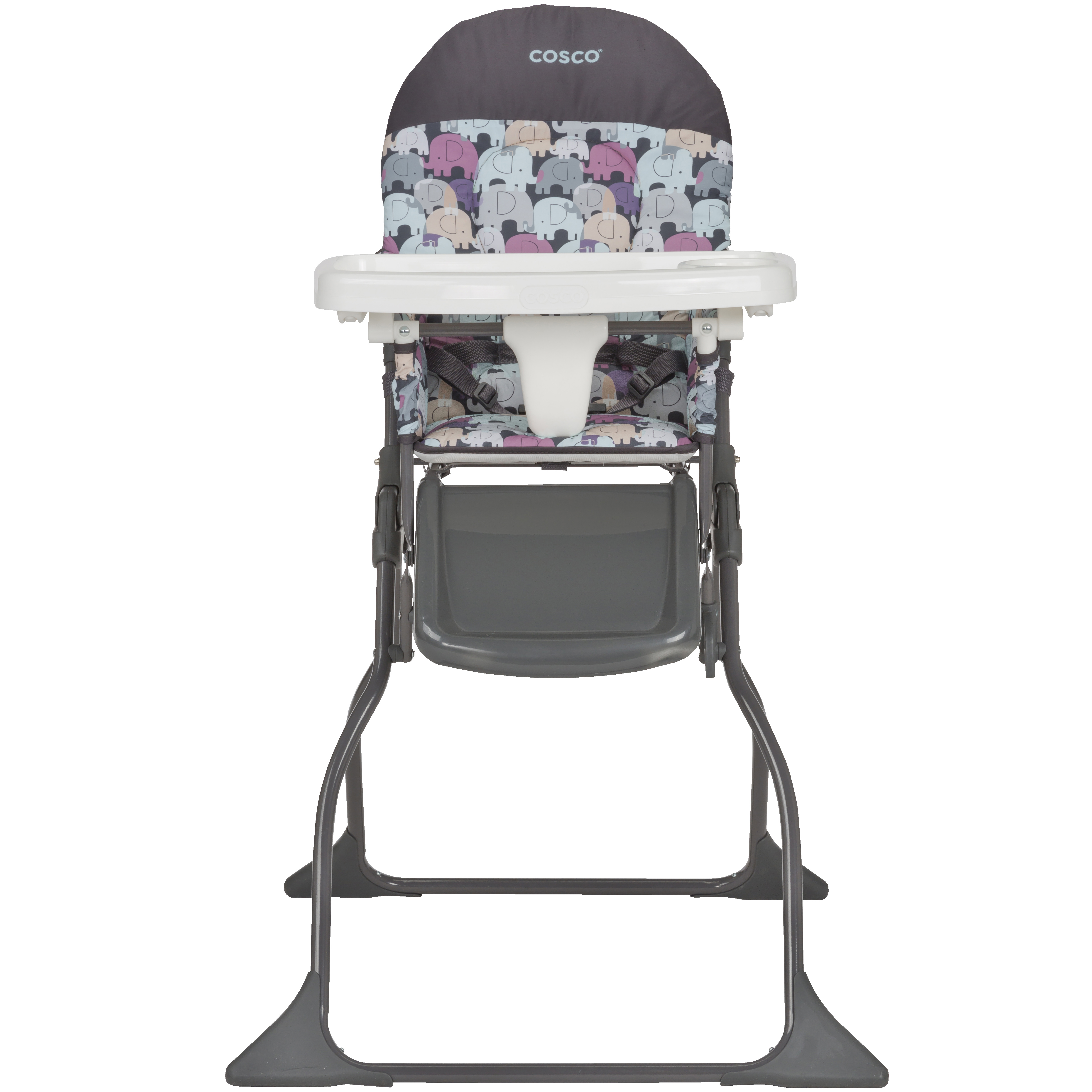 Cosco Simple Fold Full Size High Chair with Adjustable Tray, Elephant Puzzle