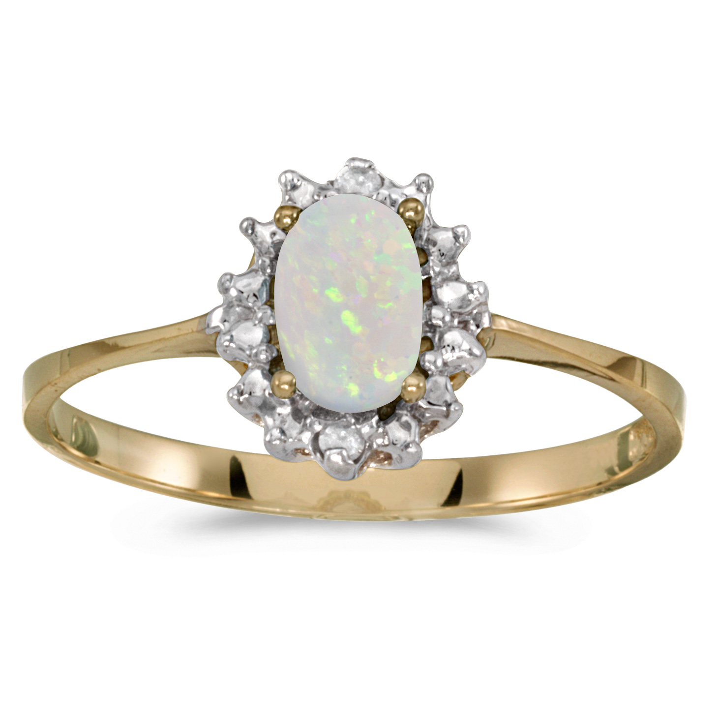 14k Yellow Gold Oval Opal And Diamond Ring by