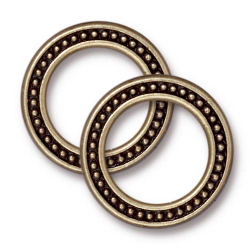 Brass Oxide Finish Pewter 20mm Beaded Ring Connector Link (2)