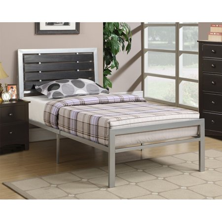 1PerfectChoice Modern Youth Kids Simple Bed Metal Frame Plywood Headboard, Twin, Silver