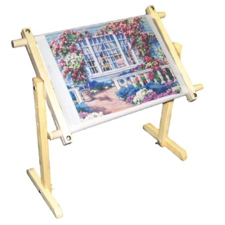 WALFRONT Needlework Table Stand, 32CT 5 Height Level Adjustable Cross Stitch Frame Floor Stand Wooden Embroidery Tapestry Hoops 100cm (Needlework Floor Stands)