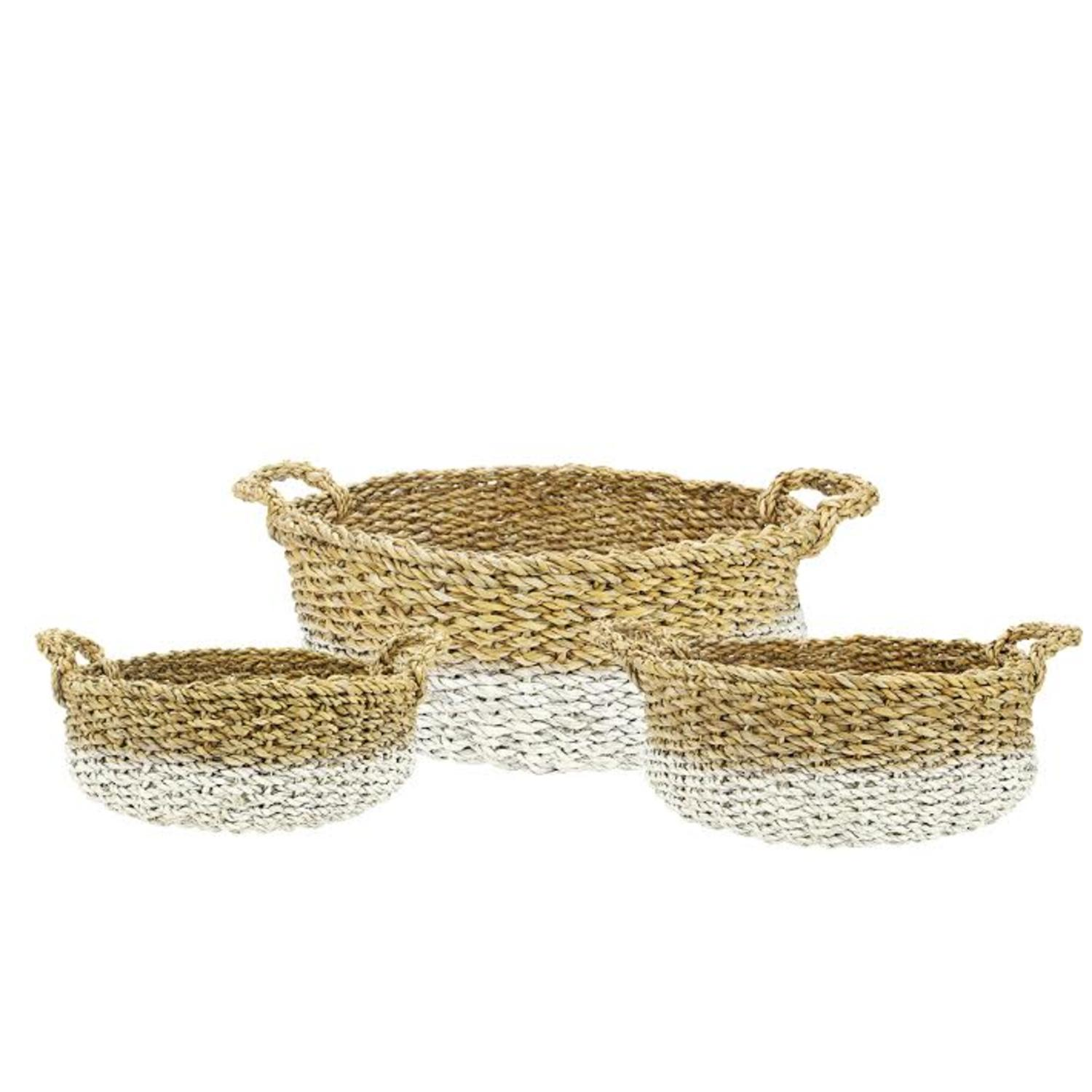 Set of 3 Green and White Seaside Treasures Decorative Seagrass Round Storage Baskets 25""
