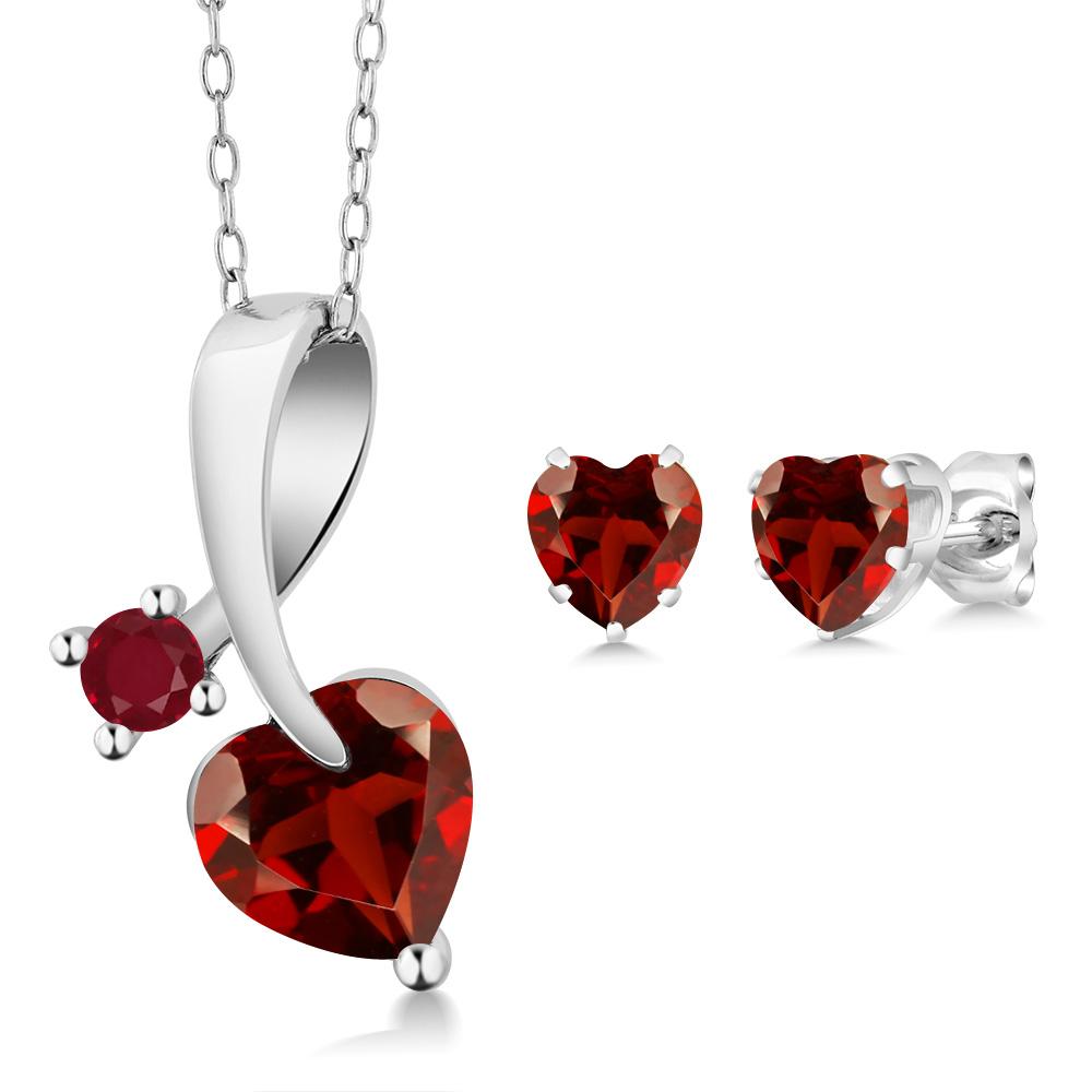 2.54 Ct Heart Shape Red Garnet 925 Sterling Silver Pendant Earrings Set by
