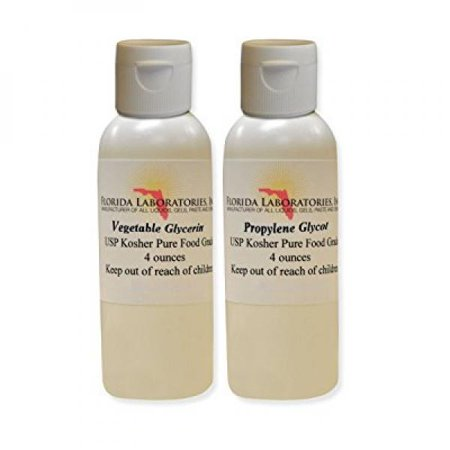 2- 4oz Vegetable Glycerin & Propylene Glycol USP Kosher VG PG 99.9% Pure Food