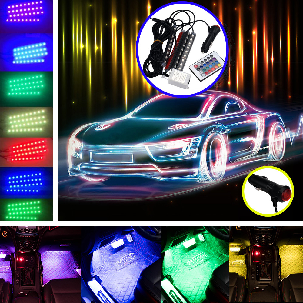 DZT1968 LED for Car Charge Interior RGB Light Accessories Foot Car Decorative