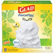 Glad  13 Gallon  (100 Count)  OdorShield Tall Kitchen Drawstring Trash Bags - Gain Original with Febreze Freshness  New!