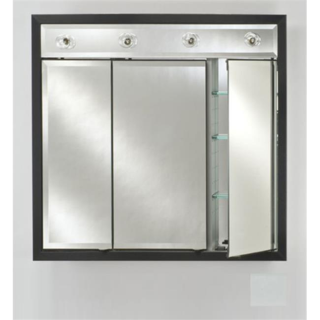 Afina Corporation TD-LC4434RSOHWT 44 in.x 34 in.Recessed Triple Door Cabinet with Contemporary Lights - Soho Satin White