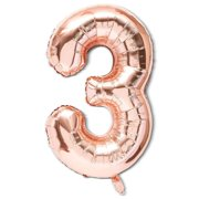 """2 Packs Jumbo Number """"3"""" Rose Gold Balloons 40"""" for Any Occasions Party Decorations"""