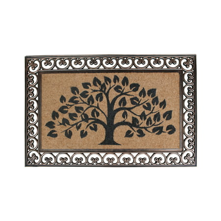 First Impression Hand Finished Rubber and Coir Tree of Life Classic Paisley Border Extra Large Double Doormat (30