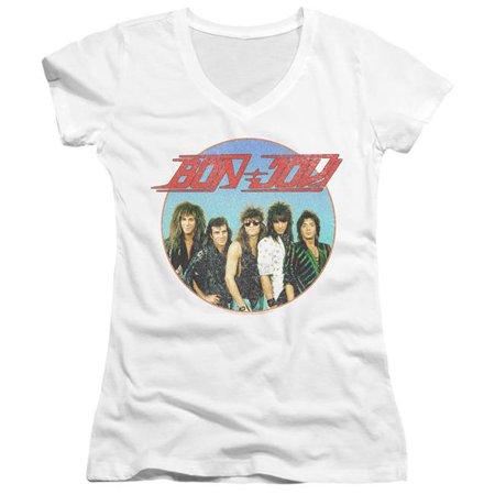 Trevco Sportswear BAND387-JV-2 Bon Jovi & Bon Sphere-Juniors V-Neck T-Shirt, White - Medium - image 1 de 1