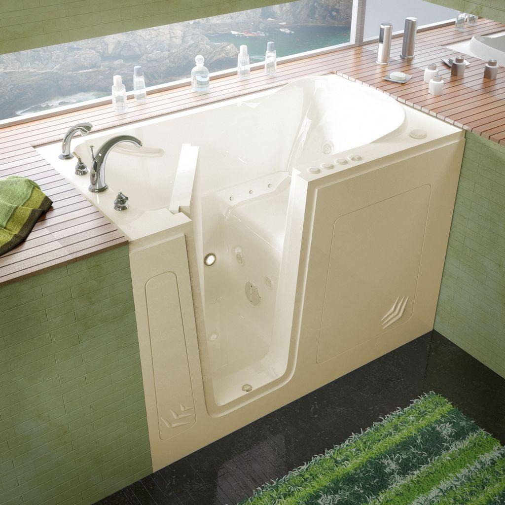Meditub 30x54 Left Drain Biscuit Whirlpool & Air Jetted Walk-In Bathtub