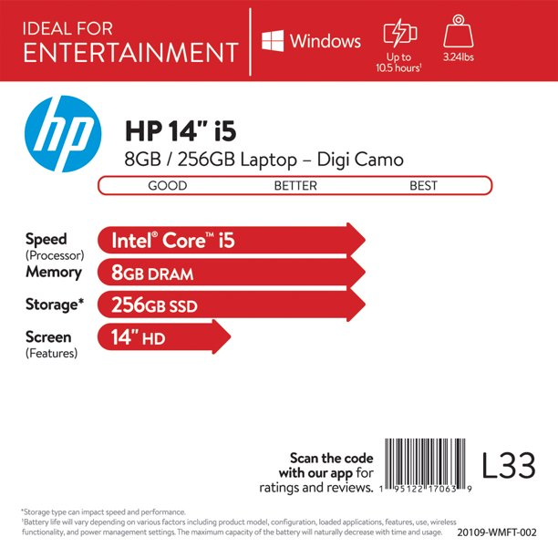 HP 14, Intel Core i5-1035G1, 8GB RAM, 256GB SSD, DIGI CAMO Laptop