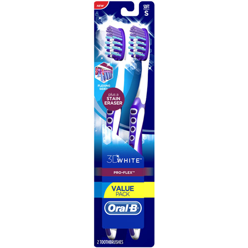 Oral-B 3D White Pro-Flex Soft Toothbrush, 2 count