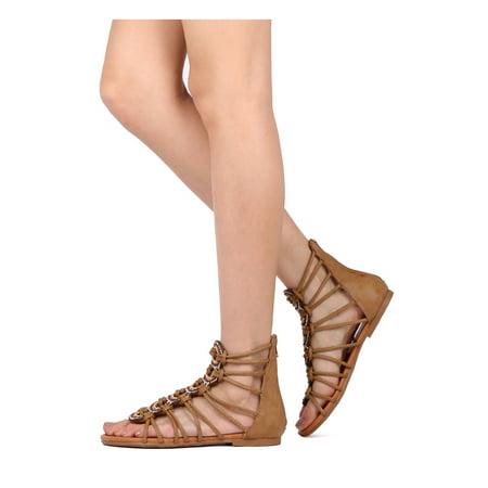 Women Leatherette Rhinestone Gladiator Sandal - Casual, Dressy, Costume - Caged Flat Sandal - GD98 By Vigo Fiore for $<!---->