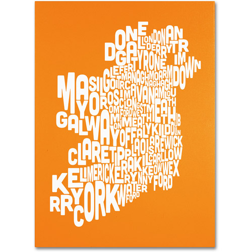 Trademark Art 'ORANGE-Ireland Text Map' Canvas Art by Michael Tompsett