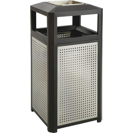 Safco, SAF9935BL, Evos Steel Ash/38-gal Waste Receptacle, 1, Black,Gray