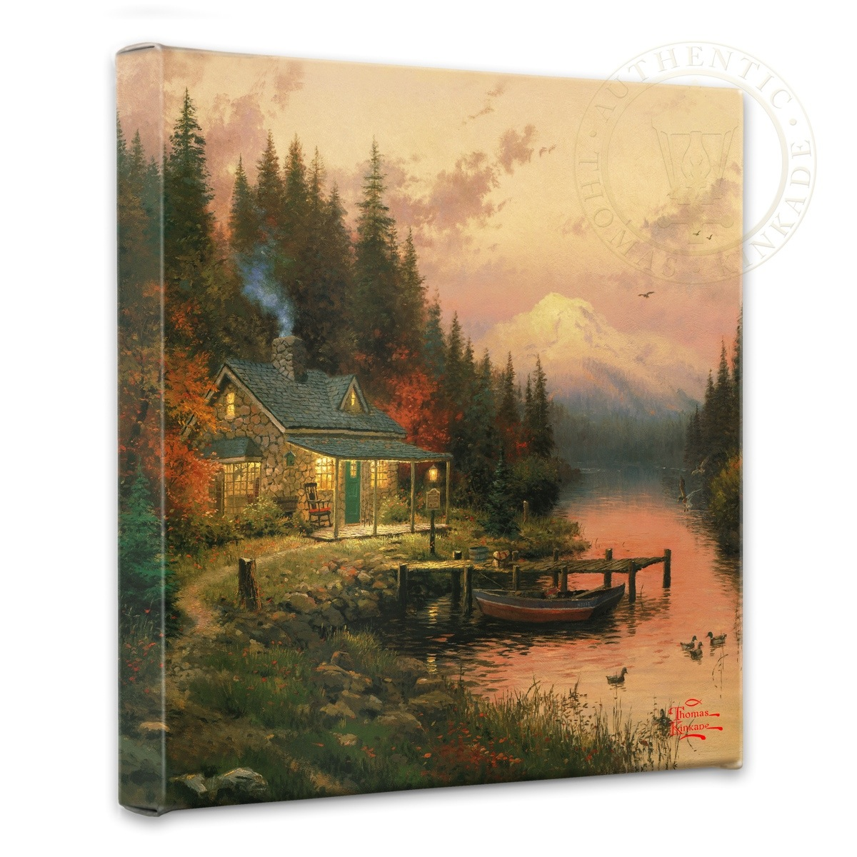 "Thomas Kinkade The End of a Perfect Day - 14"" x 14"" Gallery Wrapped Canvas"