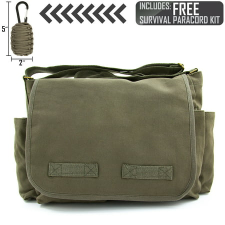 Heavyweight Canvas Messenger Shoulder Bag, with FREE Paracord Survival Tool (Canvas Purse)