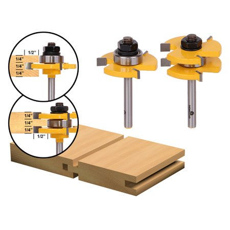 """Tongue & Groove Router Bit Set - 3/4"""" Stock - 1/4"""" Shank - Yonico 15221q"""