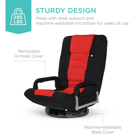 Best Choice Products 360-Degree Swivel Gaming Floor Chair w/ Armrest Handles, Foldable Adjustable Backrest - Red and Black