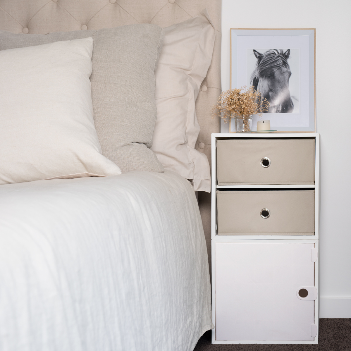 iCube 2-Drawer Nightstand, White