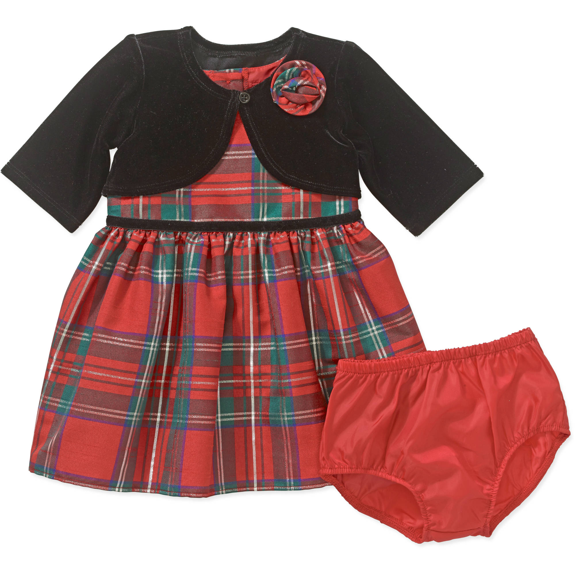 George Newborn Baby Girls' Plaid Holiday or Special Occasion Dress with Velvet Jacket Set