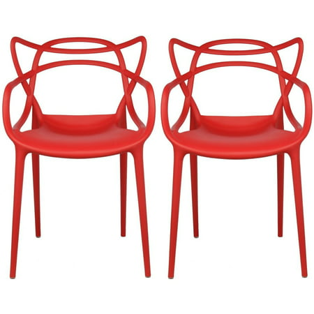 2xhome Set of 2 Red Stackable Contemporary Modern Designer Plastic Chairs With Arms Open Back Armchairs for Kitchen Dining Chair Outdoor Patio Bedroom Accent Patio Balcony Office Work Garden Home ()