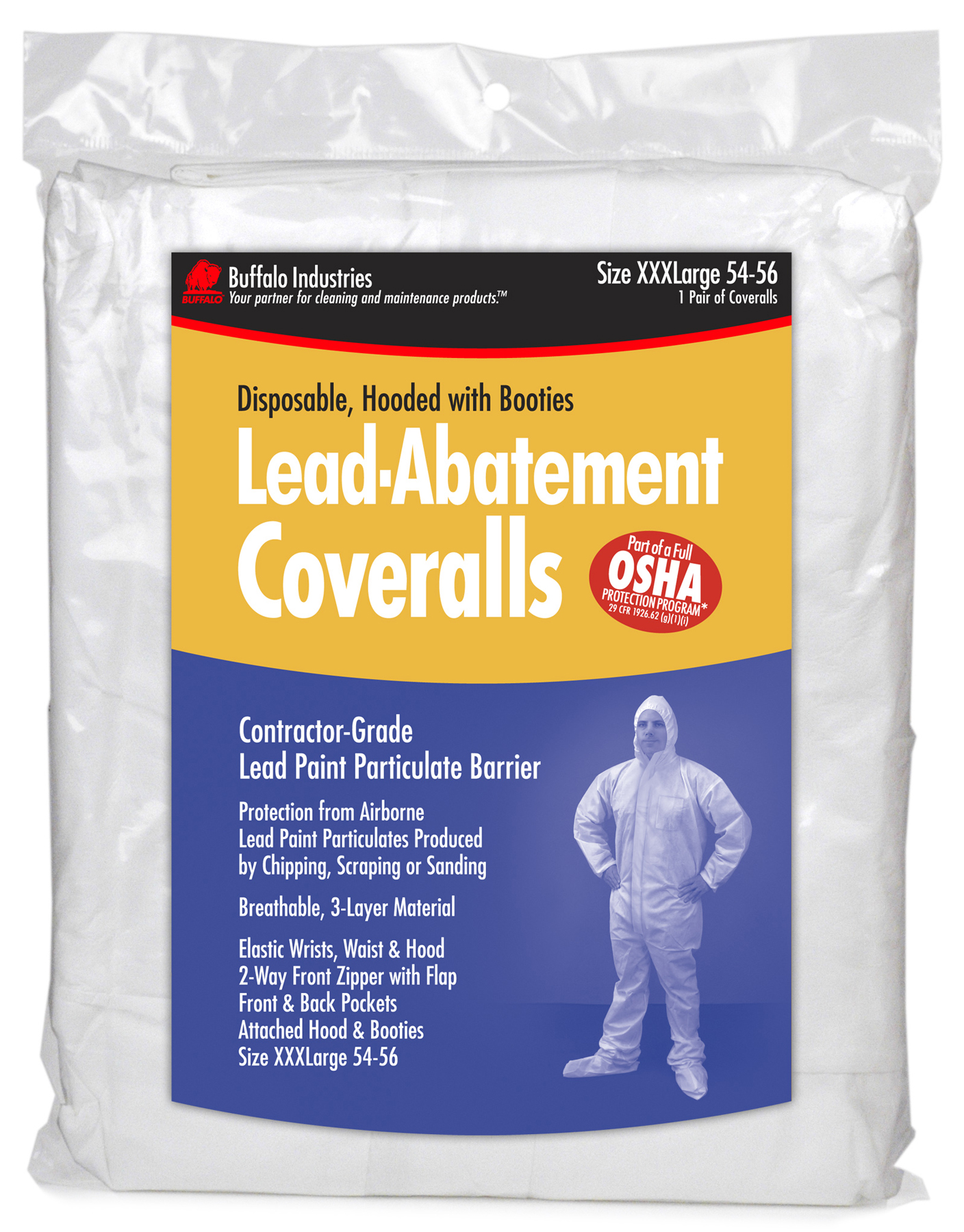 "Buffalo Industries 68444 3"" x L Disposable Lead Abatement Coveralls by Coveralls"