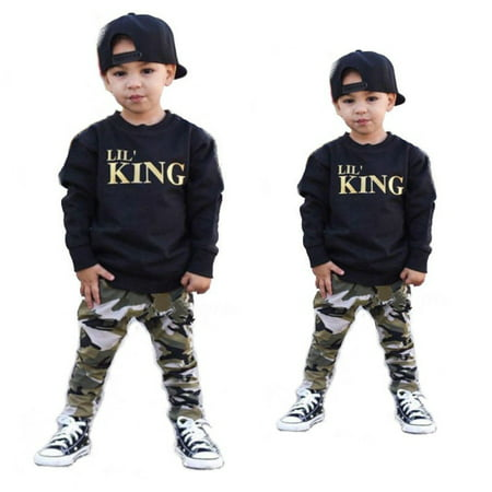 2pcs Toddler Infant Kid Baby Boys Clothing T-shirt Tops+Pants Outfits Set (Moll Outfit)