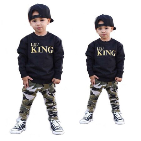 2pcs Toddler Infant Kid Baby Boys Clothing T-shirt Tops+Pants Outfits Set - Kids Cat Outfit