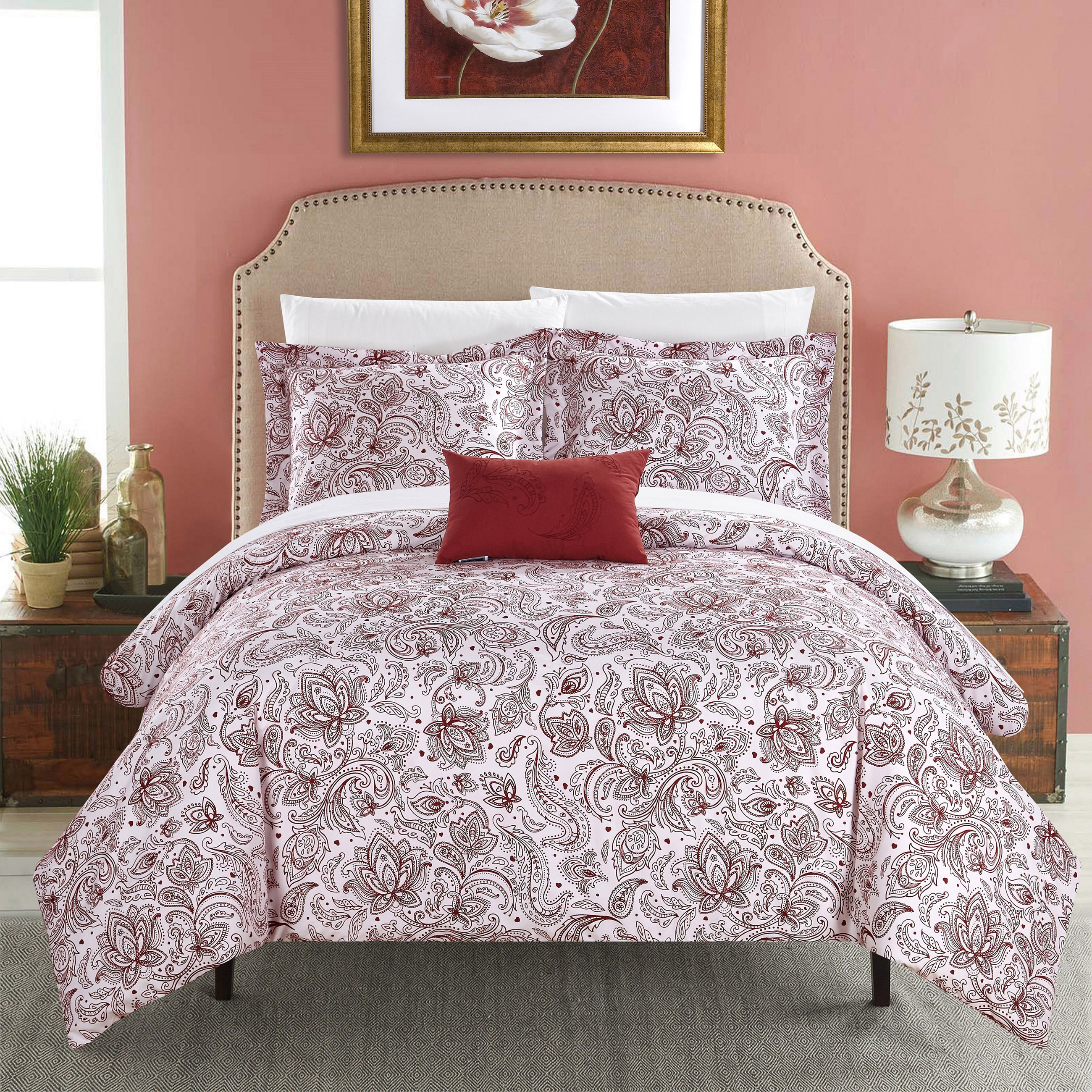 Chic Home 3-Piece Newark Park Super Soft Microfiber Vintage Paisley pattern Printed two tone Super Soft Microfiber Vintage Paisley pattern Printed two tone Duvet Cover Set Brick