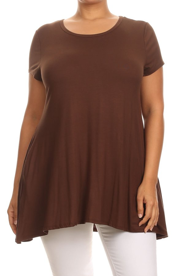 Plus Size Women's Short Sleeves Solid Tunic Top