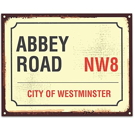Art Print Sign Gift (Abbey Road Sign - 11x14 Unframed Typography Art Print - Great Gift for The Beatles Fans (Printed on Paper, Not Metal))
