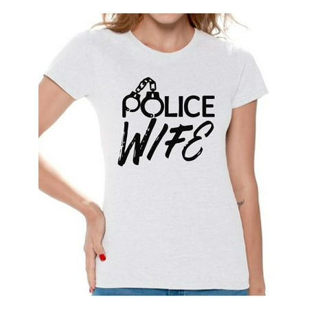 Awkward Styles Police Wife Shirt Police Wife Tshirt Valentine's Day Gift for Her Police Officer Wife T Shirt Valentine Shirts for Women Police Wife Gifts Proud to Be a Police Wife Women's Shirt