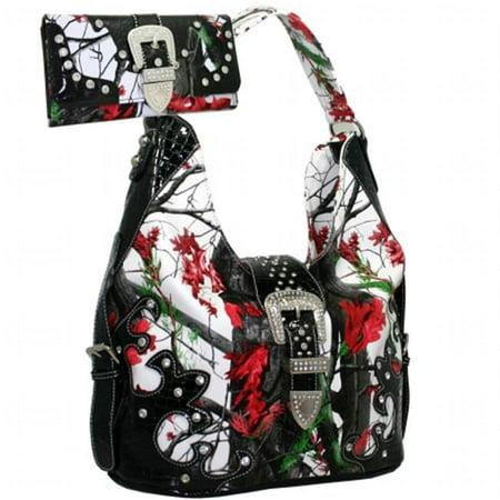 Buckle Hobo Handbag - BT929WB80SET-RD-CAM 2 Tones Rhinestone Buckle Hobo Purse Handbag Wallet, Red & Multi