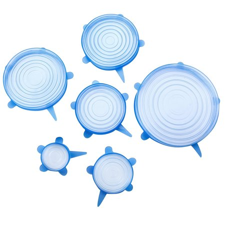 6pcs Stretch Silicone Lids Clear Airtight Food Storage Covers Reusable Bowl Cover for Pots Cups for Keeping Food Fresh Dishwasher and Freezer 6 Pack of Various Sizes (Blue) Blue Clear Thermal Covers