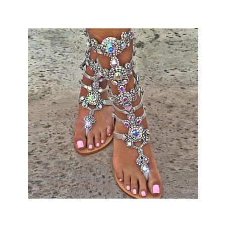 963f76f7b Meigar - Meigar Women Rhinestone Strap Strap Flip Flop Sandal Flat Beach Shoes  Gladiator Size8 - Walmart.com