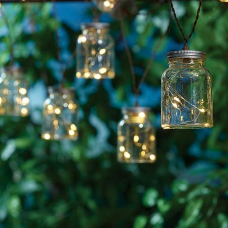 Mainstays 60 Solar Mason Jar Outdoor String Light Set Walmart Com