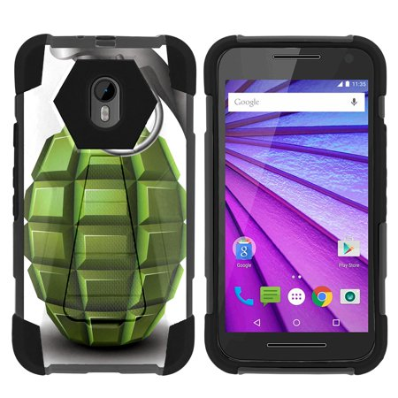 TurtleArmor ® | For Motorola Moto G 3rd Generation XT1548, XT1540 [Dynamic Shell] Dual Layer Hybrid Silicone Hard Shell Kickstand Case - Green Grenade