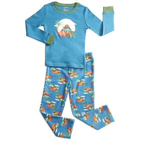 Leveret Fleece & Cotton 2 Piece Pajama Set Dinosaur Boy 12 Years