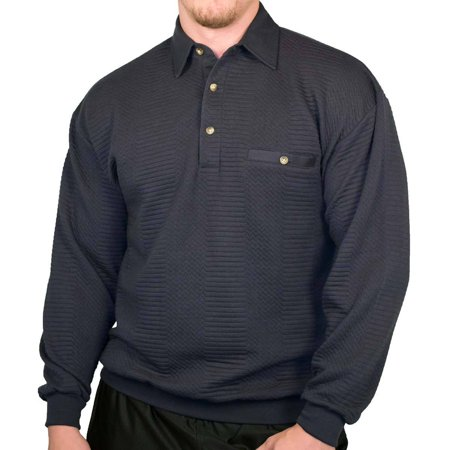 New w/ Tags LD Sport Solid Textured Long Sleeve Banded Bottom Shirt - Dark Navy