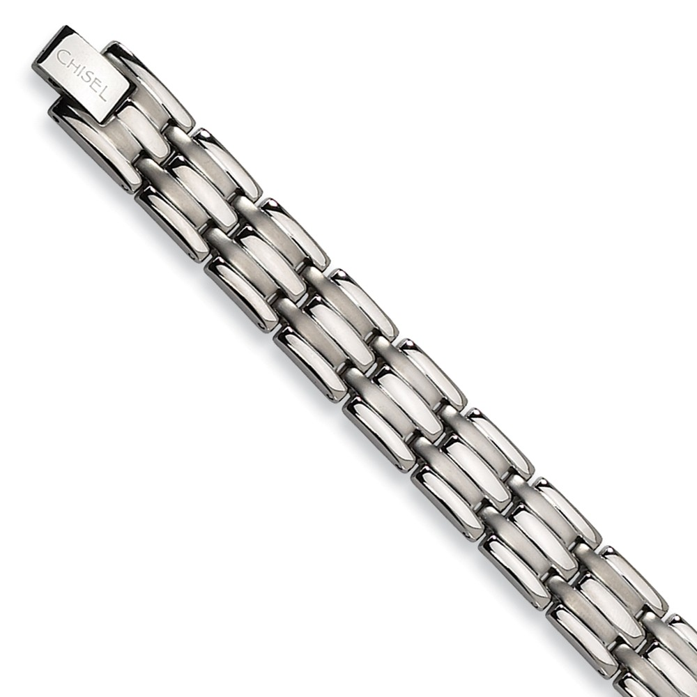 Titanium Brushed and Polished Bracelet (8.5in long)